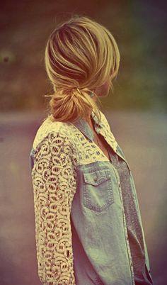Lace sleeves chambray shirt and cute hair bun
