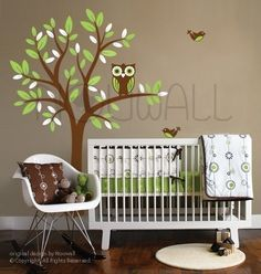Owl on Tree decal - 090 - Vinyl Sticker Wall Decal for Girl Boy Nursery. $68.00, via Etsy.
