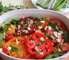 Heirloom Tomato Salad with Fresh Herbs has flat belly ingredients like extra-virgin olive oil, vinegar and arugula. #flatbelly #skinnyms