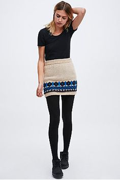 Cooperative Brushed Knitted Pull-On Skirt in Ivory and Blue