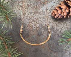 BEETLE KILL PINE. BRONZE. BRASS.    This necklace is handmade with Colorados finest beetle kill pine, brass, and a 17 inch bronze chain with a