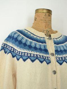Label: Handknitted in Norway, Husfliden Bergen Norwegian Knitting, Fair Isle Pattern, Wool Cardigan, Vintage Sweaters, Hand Knitting, Vests, Knit Crochet, Female, My Style