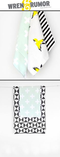 Cute #babyblankets and burp cloths from Wren and Rumor.