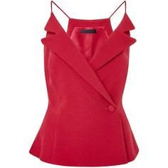 Cushnie et Ochs Stretch Cady Cami (2.600 BRL) ❤ liked on Polyvore featuring tops, tanks, scarlet red, red camisole, cushnie et ochs, stretch camisole and red cami
