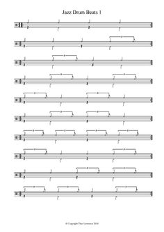 8 beginners Jazz worksheets including bass drum and snare triplet patterns for comping ideas - FREE PDF - Learn Drums For Free Drum Sheet Music, Drums Sheet, Bass Drum, Snare Drum, Learn Drums, Drum Patterns, Drums Beats, Drum Lessons, Sheet Music
