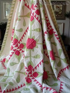 "Grand Old Antique c1860 Applique Green Red Floral QUILT 77"" x 76"" 
