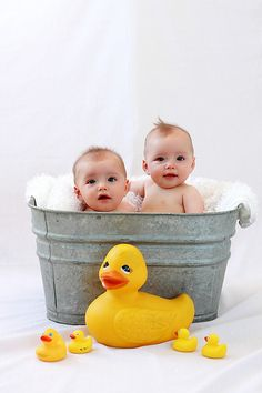 Rubber duckies add a splash of colour, especially in the bath.