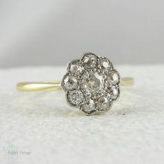 Art Deco Diamond Daisy Engagement Ring. Old Mine Cut Diamonds in Cluster Flower Shape Ring, Circa 1920s.