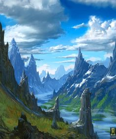 Mountains Cut by River by Concept-Art-House #FantasyLandscape