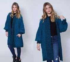 Vintage 80s SLOUCHY Cardigan Teal Oversized by LotusvintageNY #80s #1980s #cardigan #slouchy #oversized #sweater #teal #vintage #boucle #duster