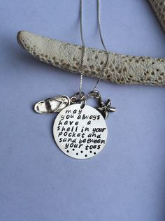 Custom Hand Stamped Sterling Silver Saying Necklace with Flip Flop & Starfish. $64.00, via Etsy.