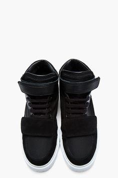 KRISVANASSCHE Black Leather & Suede Velcro Low-Top Sneakers
