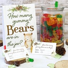 How Many Gummy Bears Woodland Baby Shower Game - Standing Sign and 30 Cards .- Wie viele Gummibärchen Woodland Baby Shower Game – Standing Sign und 30 Karten … How Many Gummy Bears Woodland Baby Shower Game -… - Baby Shower Supplies, Boy Baby Shower Themes, Baby Shower For Boys, Baby Shower Favours, Ideas For Baby Shower, Fun Baby Shower Games, Shower Gifts, Bany Shower Games, Baby Shower Signs