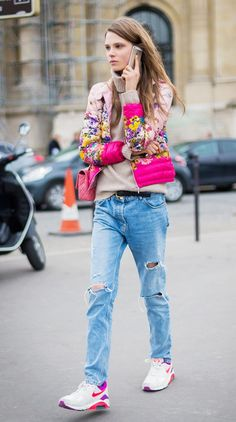 Pink floral puffer jacket + ripped jeans + sneakers
