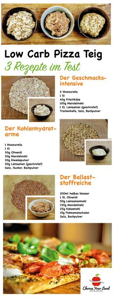 Low Carb Pizza Teig selber machen - 3 Rezepte im Test - pizzateig ohne weizen, pizzateig low carb, pizzateig selber machen rezept, pizzateig ohne mehl, pizzateig glutenfrei Low Carb Pizza, Low Carb Bread, High Protein Low Carb, Low Carb Keto, Low Calorie Recipes, Healthy Recipes, Clean Eating, Healthy Eating, Low Carb Sweets