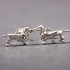 Dachshund smooth haired silver EARRINGS (studs)