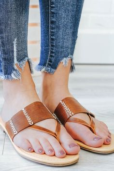 rattan-s Flat Slide Sandals - Online Clothing Boutique
