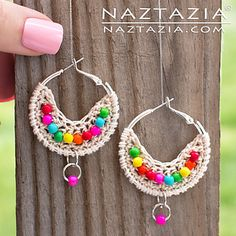 """Here's a quick and easy project to crochet with beads – Boho Bead Earrings. Using purchased 1.5"""" hoop earrings and a small amount of crochet thread, you can add a few beads to really dress up plain earrings. As always there's a YouTube video to help with the tricky parts."""