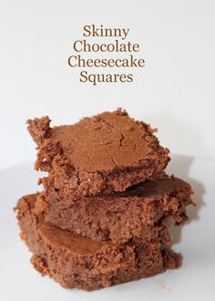 My So-Called (Mommy) Life: Skinny Chocolate Cheesecake Squares Healthy Desserts, Delicious Desserts, Healthy Cooking, Dessert Recipes, Yummy Food, Yummy Treats, Sweet Treats, Dog Treats, Cheesecake Squares