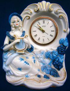 STUNNING VINTAGE 1950/60s LANDEX ROYAL CRAFT BLUE & WHITE PORCELAIN ALARM CLOCK