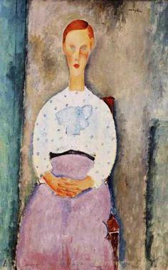 "Amedeo Modigliani Italian 1884 - 1920 ""Girl with Polka-Dot Blouse"""