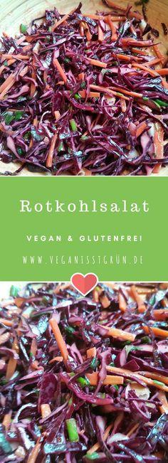 Rohkost-Rotkohlsalat. Eignet sich super für Grillparties, oder einfach als Beilage. Knackig, frisch und lecker. Dazu vegan und glutenfrei.
