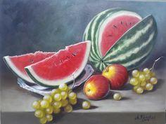 Watermelon, Pasta, Paintings, Food, Dish Towels, Still Life, Beautiful Scenery, Fruit Painting, Paint
