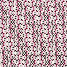 """Mod Mini Circle Squares Cotton Jersey Knit Fabric - A sweet mod style design with small circle squares in colors of fuchsia pink, gray, black and white on a cotton jersey knit.  Fabric is light to mid weight with a small stretch.  Squares measure about 5/8"""".  ::  $6.25"""