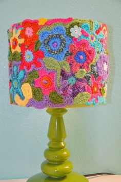 Lamp shade Crochet Handmade One of a Kind Made to Order Super Cute & Original. $155.00, via Etsy.