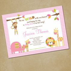 Jungle Animals Baby Shower InvitationGirl You by PinkSkyPrintables, $12.00