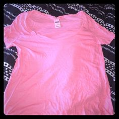 Victoria secret pink tshirt This is a coral tshirt by Victoria secret pink in size large. Never warn. PINK Victoria's Secret Tops Tees - Short Sleeve