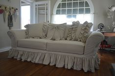 Custom slipcover tailor made to fit your sofa perfectly. Shabby, ruffles and bows slipcover. Sectional Sofa Slipcovers, Large Sectional Sofa, Custom Slipcovers, Custom Sofa, Window Seat Cushions, Cushions On Sofa, Shabby Chic Sofa, Shabby Chic Furniture, Modern Furniture