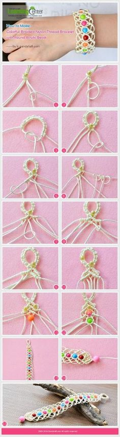 How to Make Colorful Braided Nylon Thread Friendship Bracelet with Round Acrylic Beads from LC.Pandahall.com | Jewelry Making Tutorials & Tips 2 | Pinterest by Jersica