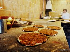 Ichkhanian bakery in Zokak El Blat, Beirut. BEST lahmejun EVER in 3 flavors.  I want some!