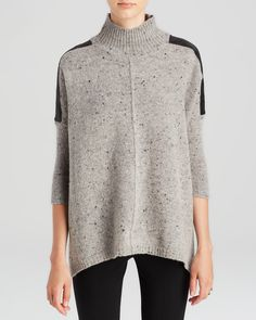 C by Bloomingdale's Leather Shoulder Speckled Sweater Women - Bloomingdale's Lounge Wear, Autumn Fashion, Sweaters For Women, Turtle Neck, Tunic Tops, Pullover, Shoulder, My Style, Womens Fashion