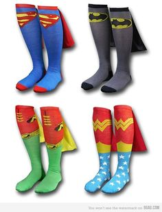SUPERHERO SOCKS WITH CAPES! For me and me best friends! Guys! Your socks!! @Carissa Migsvw @Michaela Snyder