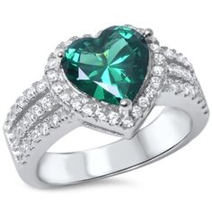 Heart Halo Ring Solid 925 Sterling Silver 1.74 Carat Simulated Emerald Green Round Russian Clear Diamond CZ Dazzling Halo Promise Ring