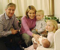 Belgian royals Prince Philippe, Princess Mathilde, Princess Elisabeth, Prince Gabriel, and Princess Elisabeth posed for the official photo of newborn Prince Emmanuel Leopold Guillome in 2005.