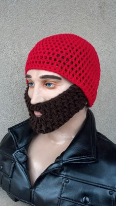 Red Beard Cap w/ Detachable BeardChoose any beard by HolyNoggins, $35.00
