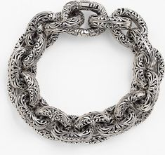 Mens Sterling Silver Necklace, Link Bracelets, Filigree, Hand Carved, Nordstrom, Chain, Antiques, Classic, Jewelry