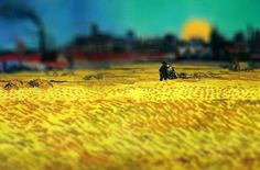VAN GOGH EN MINIATURA (TILT-SHIFT). REHACIENDO ARTE. Sunset: Wheat Fields Near Arles, 1888. Van Gogh.
