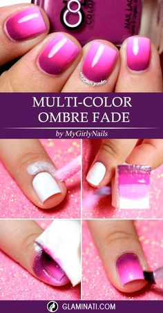 Quick Guide to 15 Stylish Yet Simple Nail Designs ❤ Multi-Color Ombre Fade ❤Here are some awesome but simple nail designs you can easily do at home! Love fancy nail art but do not have the artistic touch or a steady hand? Fancy Nail Art, Fancy Nails, Cool Nail Art, Diy Nails, Cute Nails, Simple Nail Designs, Nail Art Designs, Maquillage Pin Up, Nails Yellow