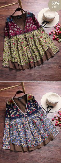 Vintage Floral Printed Patchwork V-Neck Fake Two-Piece Shirt