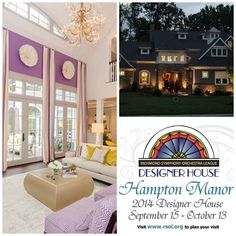 Enjoy the artistic talents of RVA's most brilliant interior and landscape designers. A Richmond tradition, Hampton Manor in Hallsley at Midlothian built by Bel Arbor Builders, is the Richmond Symphony Orchestra League's 16th show house. Open daily thru Oct. 13. Proceeds benefit the Richmond Symphony. Visit www.rsol.org.  #RVADesignerHouse @RSOLeague