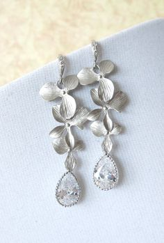 Silver Orchid and Cubic Zirconia Teardrop earrings, Garden wedding earrings, Bridesmaid jewelry, Orchid, Gifts for her, silver