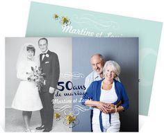 Invitation anniversaire de mariage pour convier vos proches à vos noces d'or : 50 ans de mariage ! ref N11156