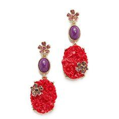 Oscar De La Renta Floral Crystal Resin Earrings ($290) ❤ liked on Polyvore featuring jewelry, earrings, flower earrings, flower pendant, swarovski crystal stud earrings, swarovski crystal pendant and crystal flower earrings