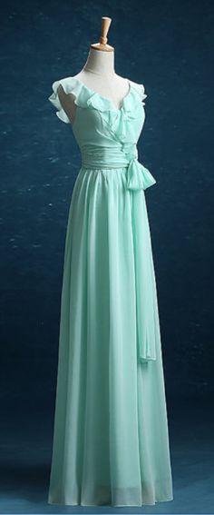 Mint Green Bridesmaid Dress, Chiffon Long New Style Bridesmaid Dresses, Party Dress