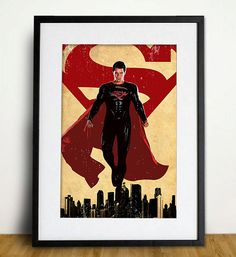 Superhero - Superman Man of Steel Poster A3 Print on Etsy, $18.00