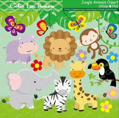 jungle friends animal clipart clip art and digital paper set